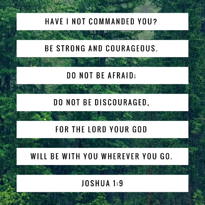 """Have I not commanded you? Be strong and courageous. Do not be afraid; do not be discouraged, for the Lord your God will be with you wherever you go."""" Joshua 1:9"""